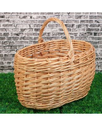 Корзина «Грибная», №2, с обруча, 37×26×23/36 см, 15 л, ручное плетение, лоза арт. СМЛ-120678-1-СМЛ0003426245