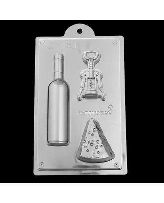 "Пластиковая форма для мыла ""Винный набор"" 17,4х4,3х2, 9,8х8х2,5, 10,5х6,3х2,5 см арт. СМЛ-10230-1-СМЛ3436440"