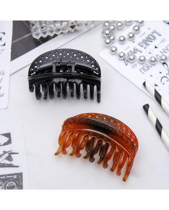 """Краб для волос """"Классика"""" 6,2 см цветочный кант овал, микс арт. СМЛ-10244-1-СМЛ3437353"""