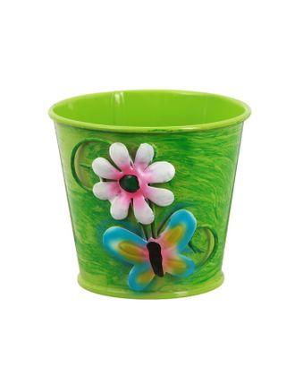 """Горшок средний """"Цветочек с бабочкой"""", цв.зеленый арт. СМЛ-10293-1-СМЛ3439995"""
