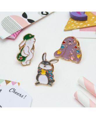 """Набор значков """"Кролики милашки"""" цветной в золоте арт. СМЛ-10408-1-СМЛ3448422"""