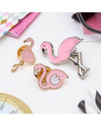 """Набор значков """"Фламинго"""" цвет розовый арт. СМЛ-10413-1-СМЛ3448431"""