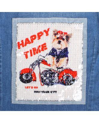 Аппликация из пайеток «Собака на мотоцикле», 21,2 × 18,5 см арт. СМЛ-10480-1-СМЛ3455455