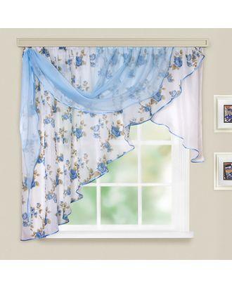 Комплект штор для кухни Иллюзия 300х150 см, голубой, левая, 100% п/э арт. СМЛ-21836-1-СМЛ3457296