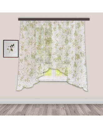 Штора для кухни вуаль-печать арка 285х160 см, зеленый, 100% п/э арт. СМЛ-10528-1-СМЛ3457310