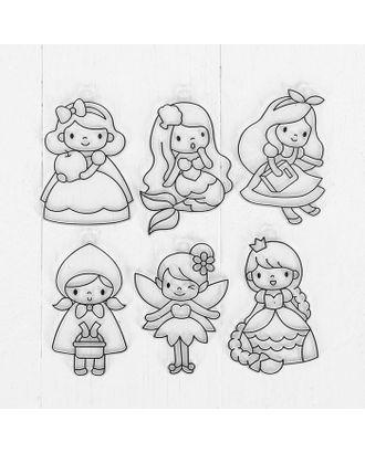 Витражи - мини- 6 шт.: Русалочка, Белоснежка, Золушка, Принцесса, Красная шапочка, размер 1 шт:8×5 см арт. СМЛ-10534-1-СМЛ3459206