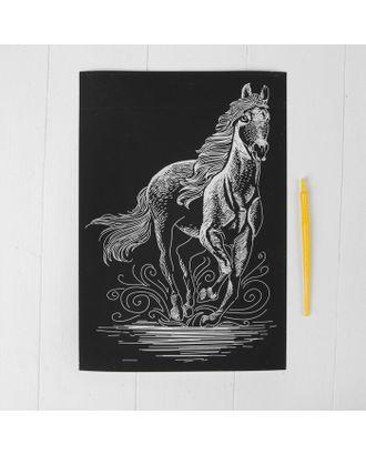 """Гравюра """"Конь"""" с металлическим эффектом серебра А4 арт. СМЛ-10550-1-СМЛ3466778"""