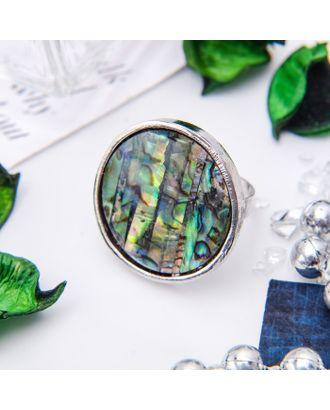 """Кольцо """"Галиотис"""" круг, цвет зеленый, безразмерное арт. СМЛ-10652-1-СМЛ3471305"""