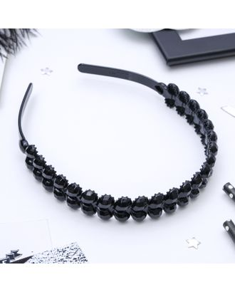 """Ободок для волос """"Ночка"""" 2 см капельки два ряда чёрный арт. СМЛ-10672-1-СМЛ3471899"""