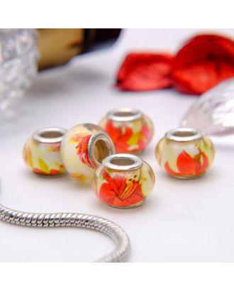 """Бусина """"Цветы"""" лилии, цв.красно-желтый в серебре арт. СМЛ-10736-1-СМЛ3474477"""