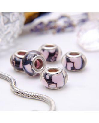 """Бусина """"Сердечки"""", цв.черно-розовый в серебре арт. СМЛ-10737-1-СМЛ3474480"""