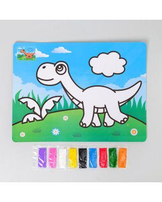 """Фреска с цветным основанием """"Динозавр"""" 9 цветов песка по 2 г арт. СМЛ-10801-1-СМЛ3482239"""