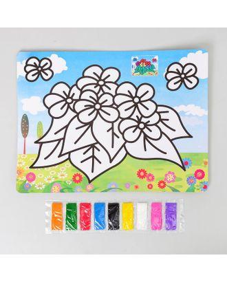"""Фреска с цветным основанием """"Цветочки"""" 9 цветов песка по 2 г арт. СМЛ-10804-1-СМЛ3482242"""