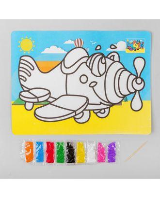 """Фреска с цветным основанием """"Самолетик"""" 9 цветов песка по 2 г арт. СМЛ-10805-1-СМЛ3482243"""