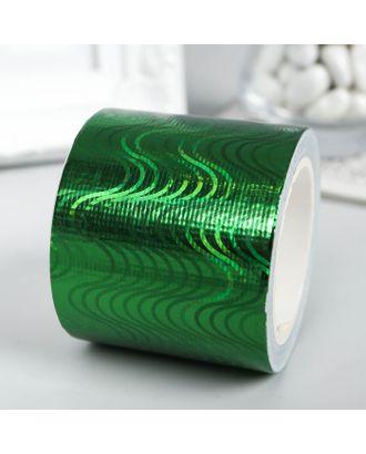 """Клейкая лента пластик """"Голографический рисунок - зелёный"""" ширина 4,8 см намотка 5 метров арт. СМЛ-10977-1-СМЛ3491096"""