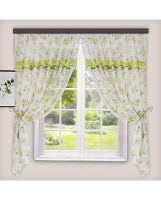 Комплект штор для кухни Цветы 280х160 см, зеленый, пэ 100% арт. СМЛ-11220-1-СМЛ3514437