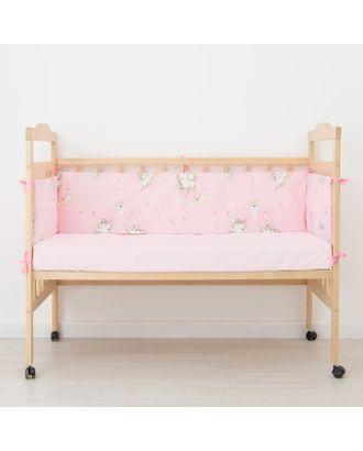 """Бортик """"Слонята"""", 4 части (2 части: 30*60 см, 2 части: 30*120 см), цвет розовый 542. арт. СМЛ-11226-1-СМЛ3514723"""