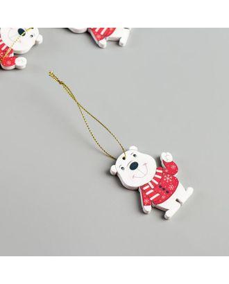"""Набор декора для творчества дерево """"Белый мишка в свитере"""" набор 4 шт 5,9х4,5 см арт. СМЛ-121262-1-СМЛ0003522071"""