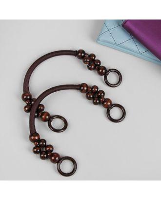 Ручки для сумки, 2 шт, вощёный шнур/дерево, 46,5 × 4 см арт. СМЛ-22314-1-СМЛ3526548