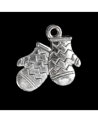 """Декор для творчества металл """"Варежки"""" серебро 1,7х1,6 см арт. СМЛ-114132-1-СМЛ0003531369"""