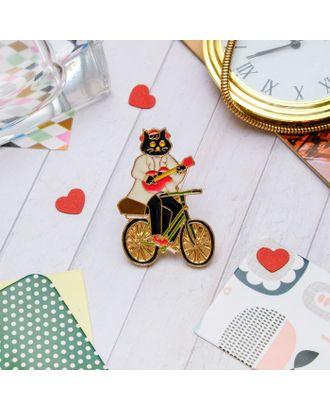 """Значок """"Кот на велосипеде"""", цветной в золоте арт. СМЛ-11498-1-СМЛ3548664"""