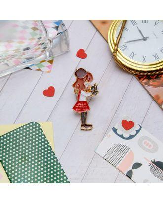 """Значок """"Девочка с кроликом"""", цветной в золоте арт. СМЛ-11499-1-СМЛ3548665"""