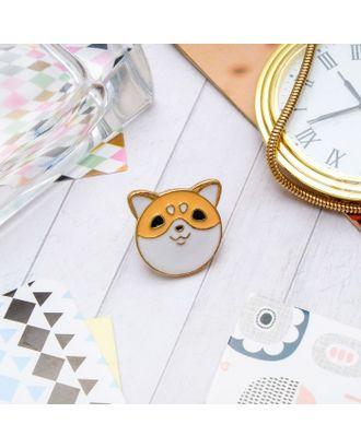 """Значок """"Котечка"""", цвет бело-оранжевый в золоте арт. СМЛ-11502-1-СМЛ3548669"""