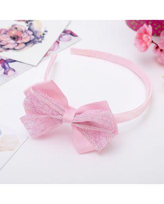 """Ободок для волос """"Умница"""" двойной бант блеск, розовый арт. СМЛ-11953-1-СМЛ3574498"""
