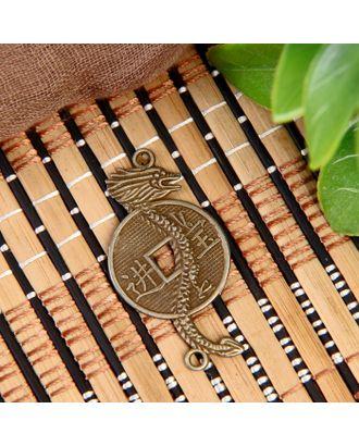 """Сувенир металл подвеска """"Дракон с китайской монетой"""" 4х2,3 см арт. СМЛ-12157-1-СМЛ3590052"""