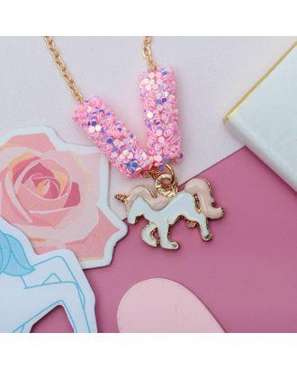 """Кулон детский """"Выбражулька"""" пайетки, единорог, цвет бело-розовый в золоте арт. СМЛ-12370-1-СМЛ3596284"""