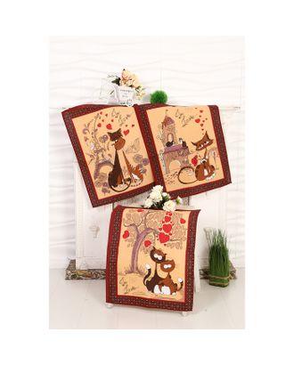Набор вафельных полотенец Кошка 45х60 см - 3 шт (в коробке), коричневый, 170 гр/м, хл100% арт. СМЛ-12489-1-СМЛ3604247