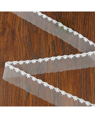 Кружево на сетке ш.4,5 см, цвет белый арт. СМЛ-26395-1-СМЛ3609349