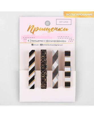 Прищепки декоративные с тиснением Black patterns, 11 × 7 см арт. СМЛ-12849-1-СМЛ3628925