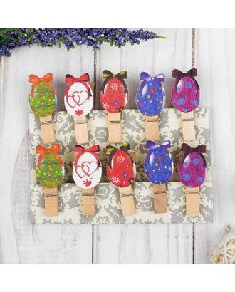 """Прищепки декоративные с веревкой для подвеса  """"Пасхальные яйца""""   набор 10 шт арт. СМЛ-12877-1-СМЛ3631397"""