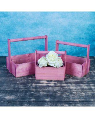 """Набор кашпо деревянных подарочных Элегант """"Классик"""", 3 в 1, с ручкой, розовый арт. СМЛ-120731-1-СМЛ0003638376"""