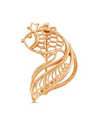 """Брошь """"Тропикана"""" золотая рыбка, позолота арт. СМЛ-13047-1-СМЛ3643874"""