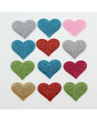 Сердечки декоративные, набор 12  шт, размер 1 шт 5*4  см, цвета МИКС арт. СМЛ-13072-1-СМЛ3649956
