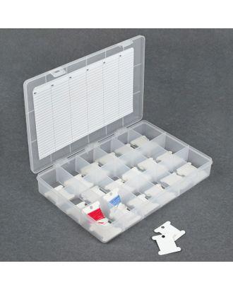 Контейнер для ниток мулине с бобинами и съемными ячейками, цв.прозрачный арт. СМЛ-13430-1-СМЛ3675622