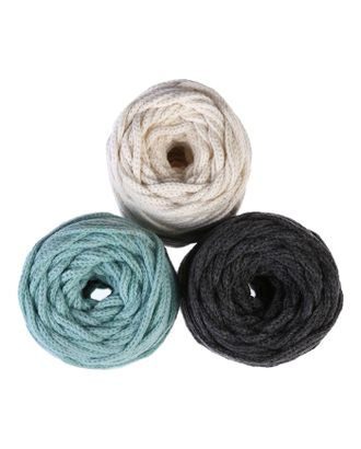 Шнур для вязания 3мм 100% хлопок, 50м/85гр, набор 3шт (Комплект 6) арт. СМЛ-40134-7-СМЛ0003676579