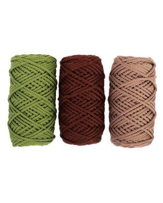 Шнур для вязания полиэфирный, 3 мм, 50 м / 105 г, набор 3 шт. (комплект 2) арт. СМЛ-40135-7-СМЛ0003676594
