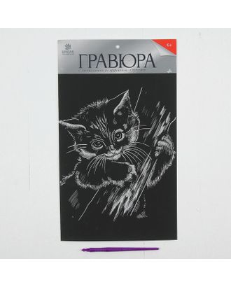 """Гравюра на подложке """"Котенок"""" с металлическим эффектом серебра А4 арт. СМЛ-13701-1-СМЛ3693194"""