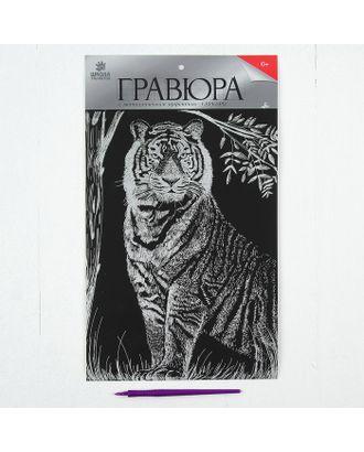 """Гравюра на подложке """"Тигр"""" с металлическим эффектом серебра А4 арт. СМЛ-13710-1-СМЛ3693260"""