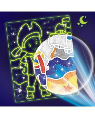"""Лунная фреска """"Приключения пирата"""", светящийся песок+блестки арт. СМЛ-13816-1-СМЛ3699886"""