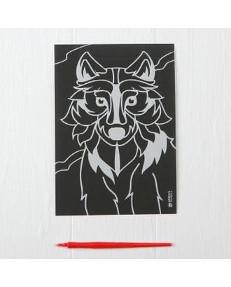 """Лунная гравюра """"Серый волк"""" 14,8*21 см с металлическим эффектом серебра+ штихель арт. СМЛ-13843-1-СМЛ3701016"""