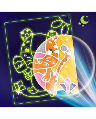"""Лунная фреска """"Тигренок с мороженым"""", светящийся песок+блестки арт. СМЛ-13931-1-СМЛ3705013"""