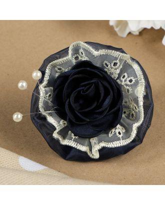 """Бант для девочек с резинкой """"Яблонька"""" синий, с кремовыми кружевами, 8 см арт. СМЛ-13966-1-СМЛ3707213"""