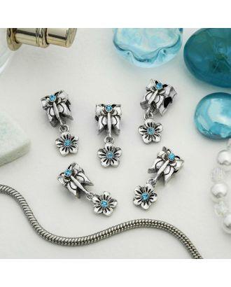 """Талисман """"Бабочка с цветком"""", цв.синий в серебре арт. СМЛ-14055-1-СМЛ3713603"""