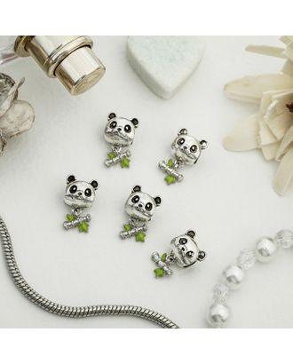 """Талисман """"Панда"""", цв.черно-зеленый в серебре арт. СМЛ-14060-1-СМЛ3713734"""