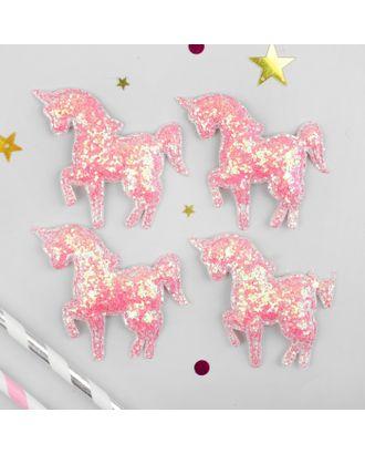 Декор для творчества «Единорог с блёстками» размер 1 шт. 6 × 6 × 0.2 см, набор 4 шт., цвет розовый арт. СМЛ-14095-1-СМЛ3715025