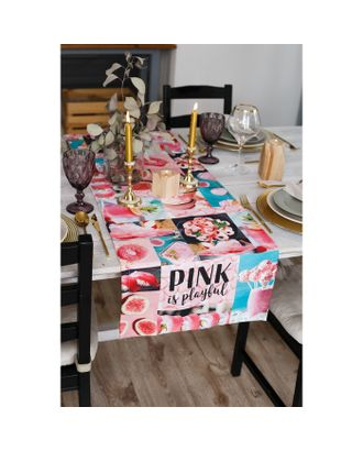 """Дорожка на стол """"Этель""""  PINK 40х146 см, 100% хл, саржа 190 гр/м2 арт. СМЛ-14150-1-СМЛ3723848"""
